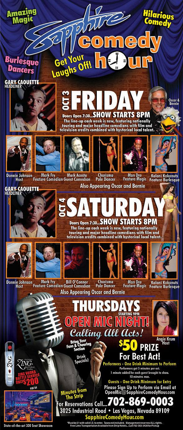 Gary Caouette to Headline Sapphire Comedy Hour on Friday, Oct. 3 and Saturday, Oct. 4