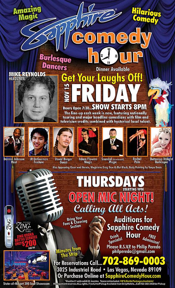 Get your laughs off at the Sapphire Comedy Hour at Sapphire Las Vegas on Friday, Nov. 15!