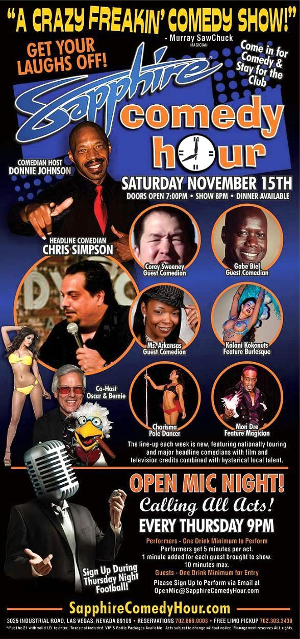 Chris Simpson to Headline Sapphire Comedy Hour on Saturday, Nov. 15