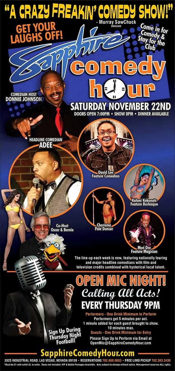 "Adrian ""ADEE"" McCovy to Headline Sapphire Comedy Hour on Saturday, Nov. 22"