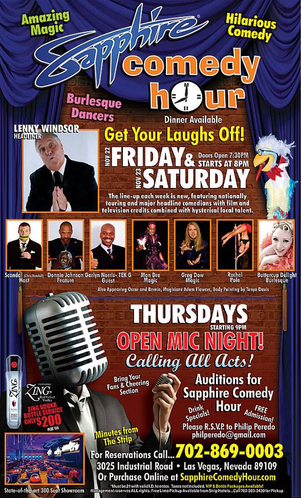 Lenny Windsor to Headline Sapphire Comedy Hour at Sapphire Las Vegas Friday, Nov. 22 and Saturday, Nov. 23