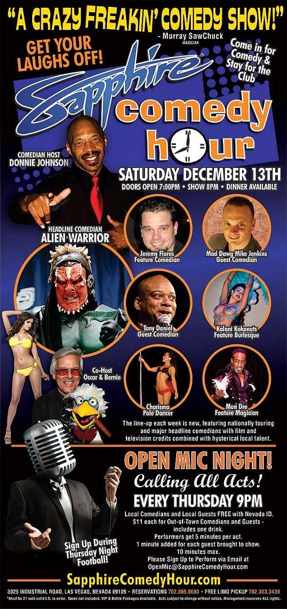 Comedian Alien Warrior to Headline Sapphire Comedy Hour on Saturday, Dec. 6