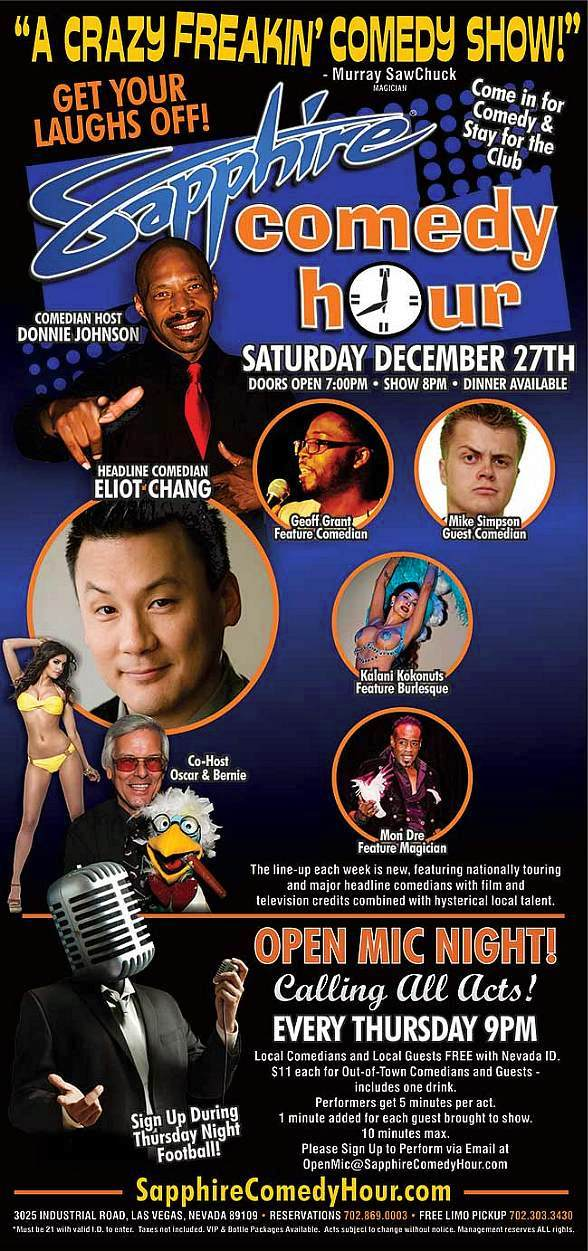 Comedian Eliot Chang to Headline Sapphire Comedy Hour on Saturday, Dec. 27