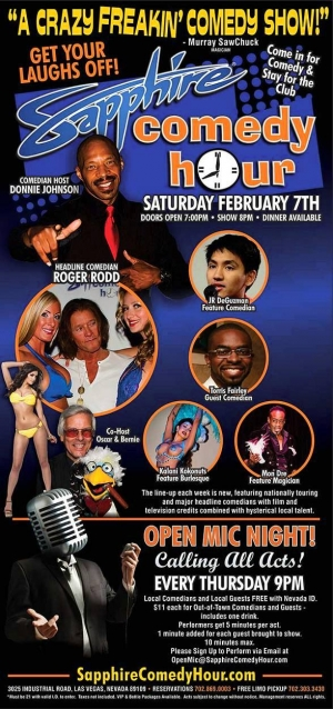 Comedian Roger Rodd to Headline Sapphire Comedy Hour on Saturday, Feb. 7