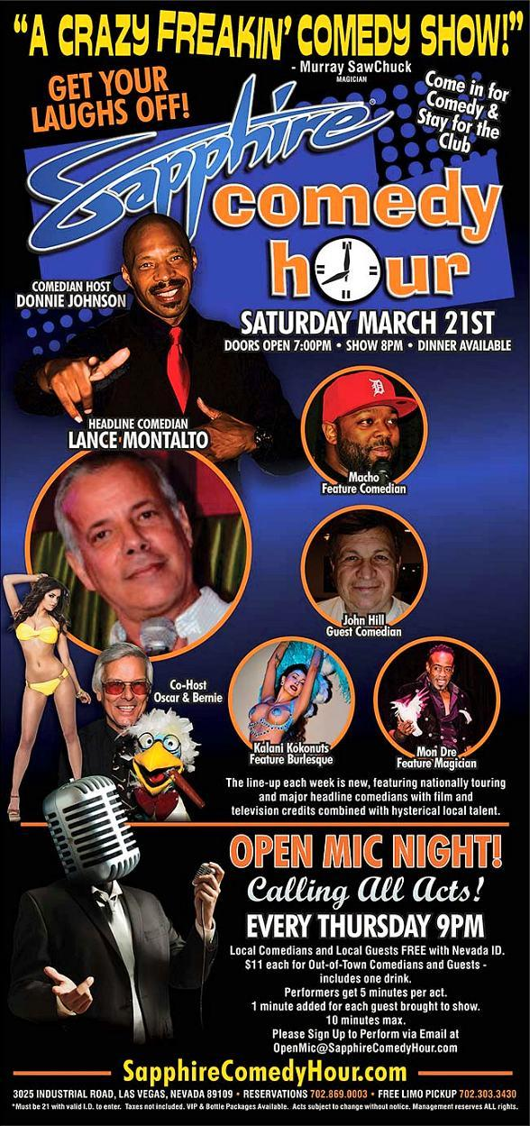 Comedian Lance Montalto to Headline Sapphire Comedy Hour, Saturday March 21