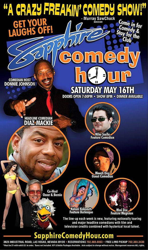 Comedian Diaz Mackie to Headline Sapphire Comedy Hour, Saturday May 16