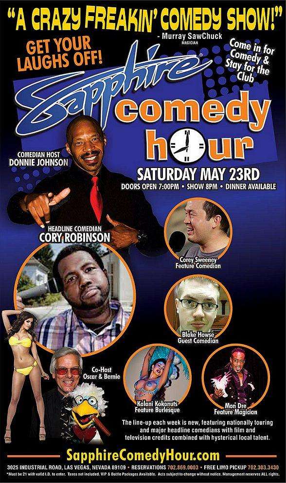 Comedian Cory Robinson to Headline Sapphire Comedy Hour, Saturday May 23