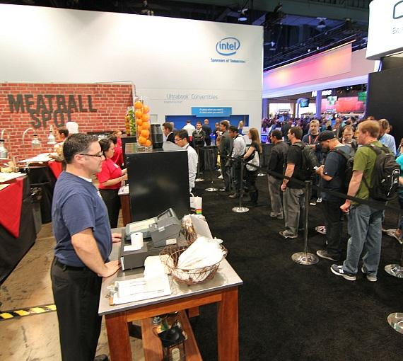 Consumer Electronics Show guests in Meatball Spot's Pop-Up line
