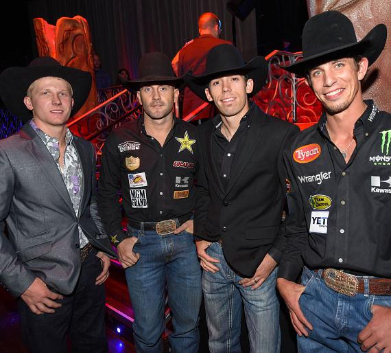 Cooper Davis, Shane Proctor, Bryan Titman, and J.B. Mauney at the PBR Official Launch Party at Luxor Hotel and Casino