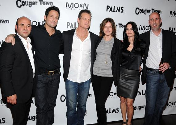 ney Cox and Bob Clendenin arrive at ABC's 'Cougar Town' viewing party at Moon Nightclub at Palms Casino Resort