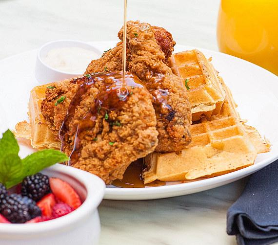 Country fried chicken and waffles at Sugar Factory Las Vegas