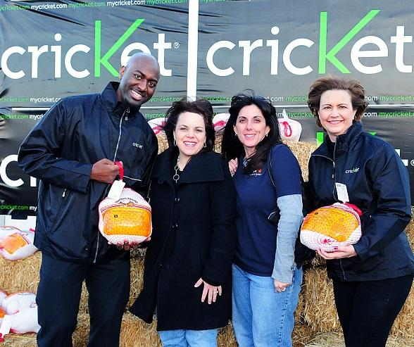 Cricket Wireless donated 10 turkeys to the local chapter of Candlelighters  Childhood Cancer Foundation of Nevada during the Cricket Thanksgiving Festival on Tuesday, Nov. 23. From left to right: Cricket District Director, Marlon Young; Candlelighters Executive Director, Melissa Cipriano; Development/Volunteer Coordinator Lisa Czarny and Cricket Area General Manager, Mary Jones. 
