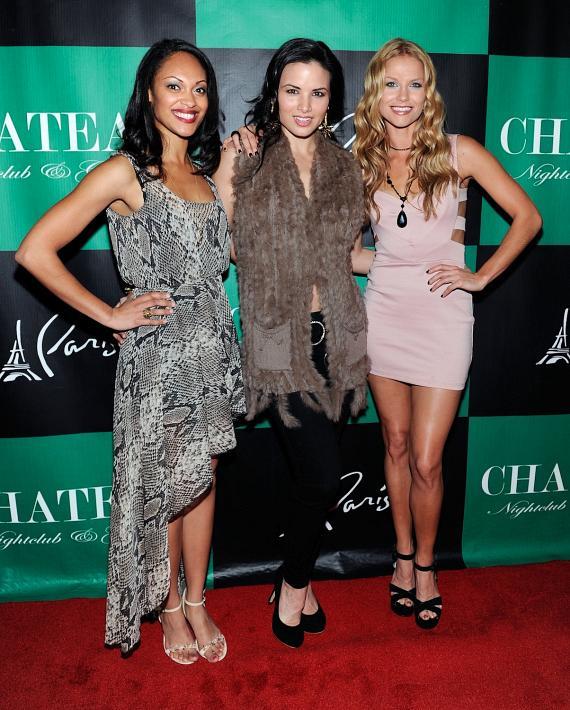 Cynthia Addai-Robinson, Katrina Law and Ellen Hollman pose on the red carpet for Chateau Nightclub & Gardens