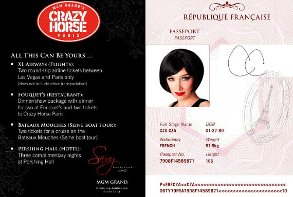 MGM Grand's Crazy Horse Paris dancer, Cza Cza, sharing her personal passport and encouraging guests to sign up for the Passport to France promotion