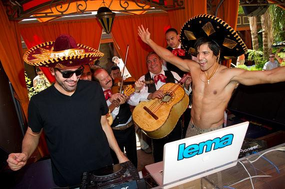 DJ Lema with Ricardo Laguna and Mariachis at TAO Beach