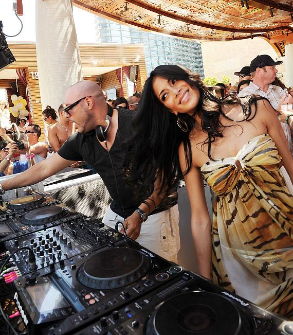 DJ Roger Sanchez and Nicole Scherzinger at Marquee Dayclub