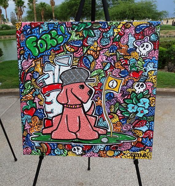 Original painting donated by local famed artist Tommy Vinci