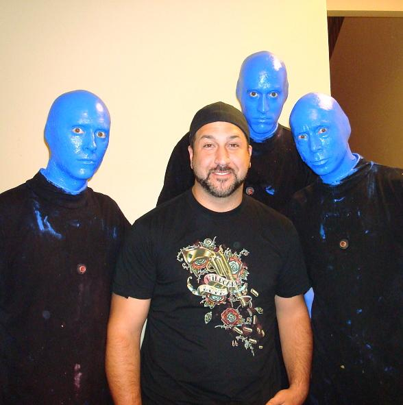 Joey Fatone Visits the Blue Man Group