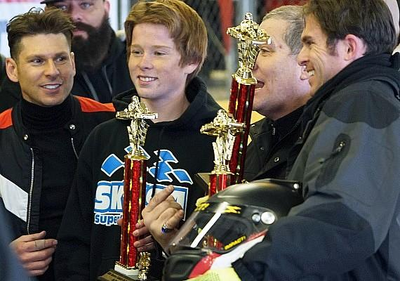 Mike Hammer with trophy winners: Cody Kelleher, Gene Woods (back), Allen Woodman and Taylor Barton