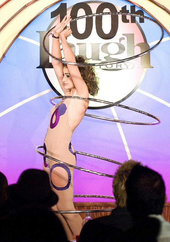 14-yr old Jasmine Valencia performs a hula-hoop act
