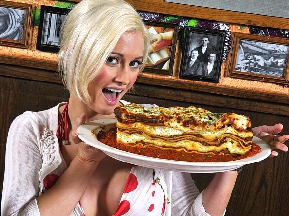 Holly Madison Helps Buca di Beppo Prepare for National Lasagna Day July 29