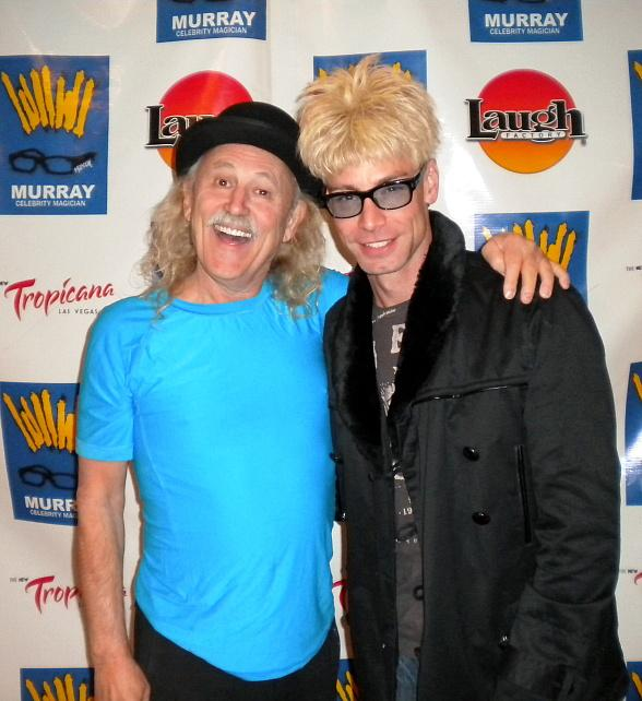 Comedy Legend Gallagher Visits Magician Murray SawChuck at Laugh Factory in Tropicana Las Vegas