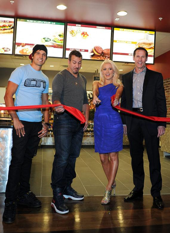 Ricardo Laguna, Joey Fatone, Holly Madison and Earl of Sandwich CEO Steve Heeley
