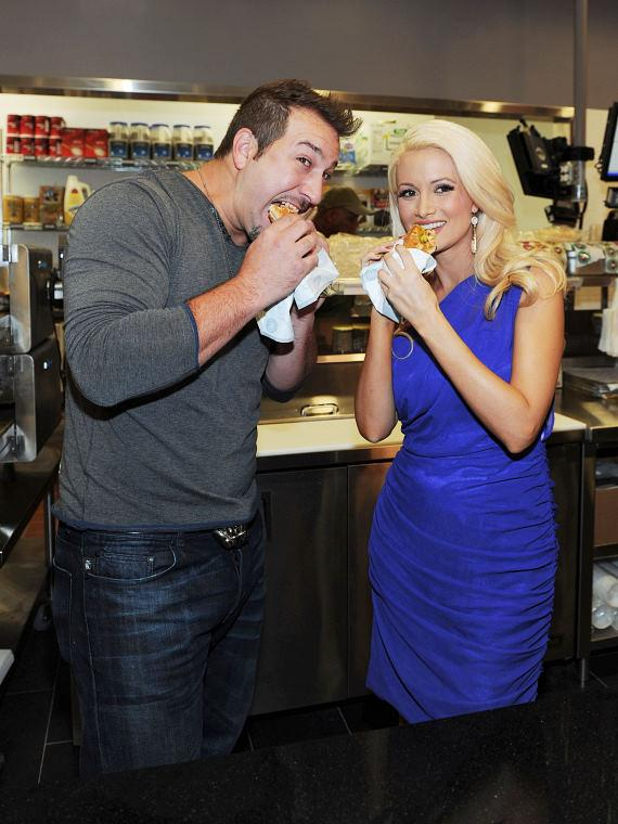 Joey Fatone and Holly Madison at Earl of Sandwich opening at The Palms