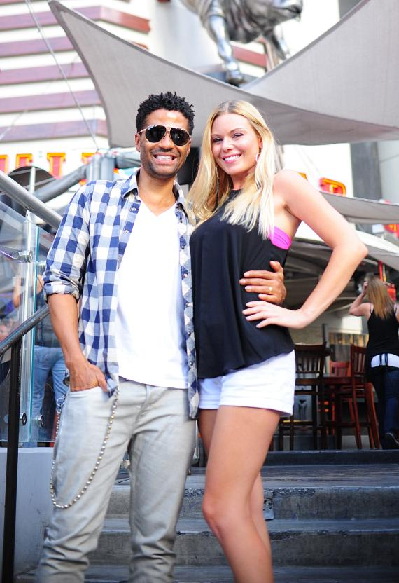 "Eric Benét and Christina ""CC"" Christensen outside PBR Rock Bar in Las Vegas"