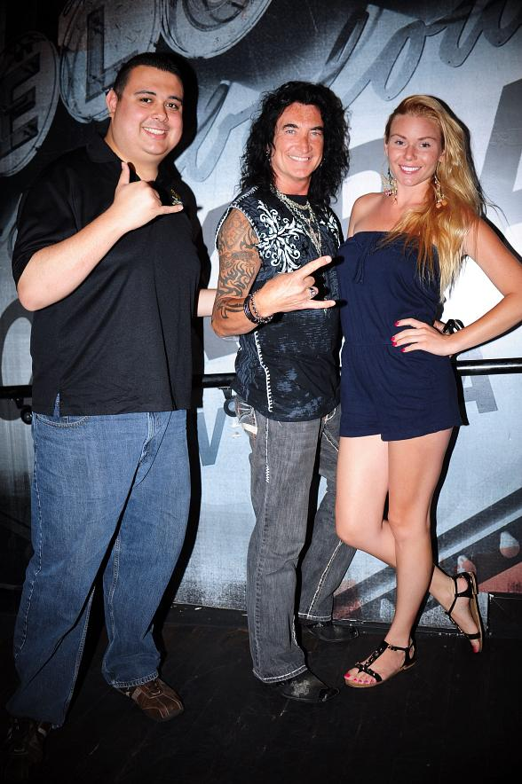 "Robert Blasi (L) and Christina ""CC"" Christensen with Robin McAuley (C) from Raiding the Rock Vault"