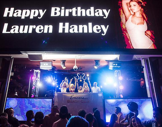 Instagram Supermodel Lauren Hanley in DJ booth at Encore Beach Club