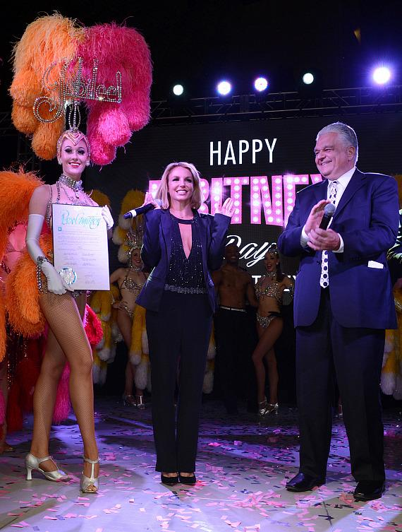 "Planet Hollywood Resort & Casino headliner Britney Spears is presented with the Key to the City of Las Vegas' iconic Strip on Wednesday, November 5, which was also declared ""Britney Day."""