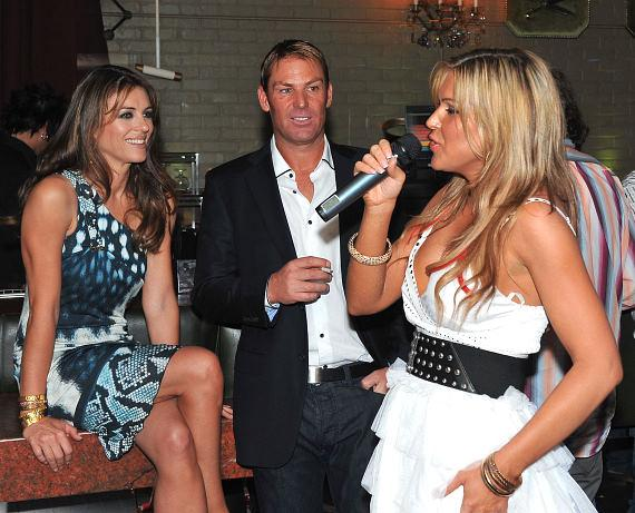 Elizabeth Hurley and Boyfriend Shane Warne Attend Private Poker Event at Savile Row