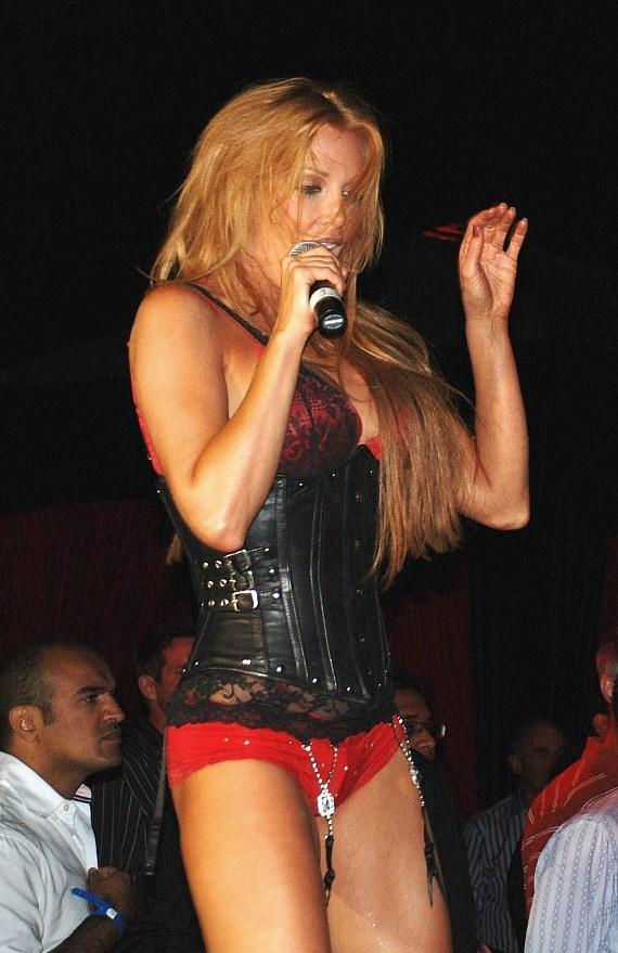 Angelica Bridges performs with Strawberry Blonde at the Playboy Mansion