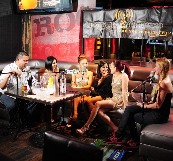 "Robert Blasi (L) and Christina ""CC"" Christensen (R) interview Blush at PBR Rock Bar in Las Vegas"