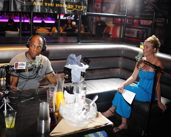 "Alonzo Bodden with co-host Christina ""CC"" Christensen at PBR Rock Bar in Las Vegas"