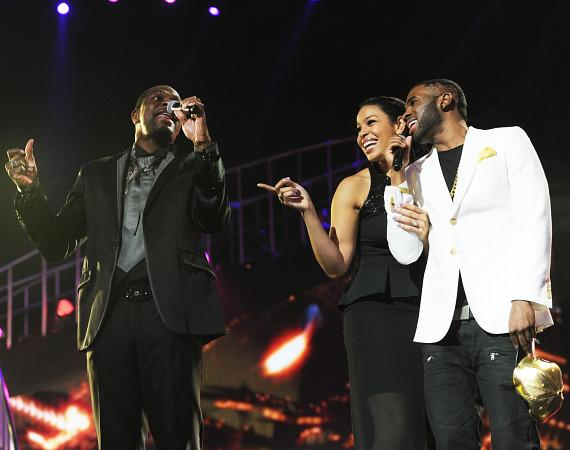 Chris Tucker with Jordin Sparks and Jason Derulo  onstage during the 17th annual Keep Memory Alive 'Power of Love Gala' benefit for the Cleveland Clinic Lou Ruvo Center for Brain Health