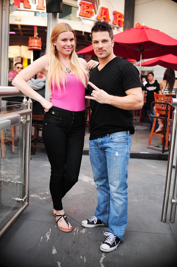 "Christina ""CC"" Christensen  and Mark Shunock outside PBR Rock Bar in Las Vegas"