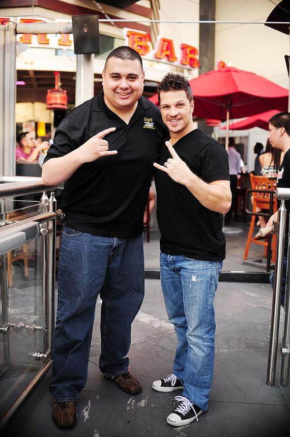 Robert Blasi and Mark Shunock outside PBR Rock Bar in Las Vegas