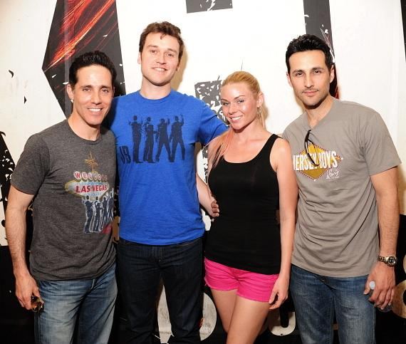 """Jeff Leibow, Rob Marnell, and Jason Martinez from Jersey Boys with co-host Christina """"CC"""" Christensen"""
