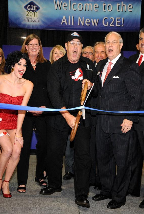 Dan Aykroyd cuts the ribbon at Global Gaming Expo 2011 in Las Vegas