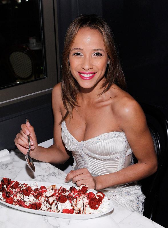 Dania Ramirez indulging in a red velvet sundae at Sugar Factory American Brasserie at Paris Las Vegas