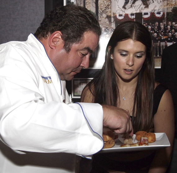 Danica Patrick, a huge food lover and fan of cooking, requested cooking lessons from Emeril. Her husband gave her an Emeril breadmaker for Christmas last year.