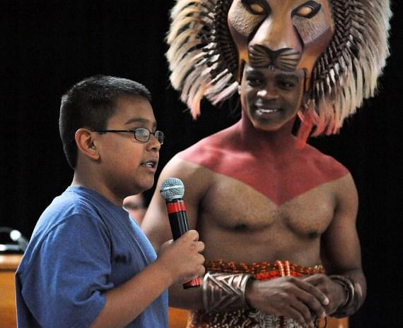 Daniel Hernandez, Niles Rivers as Simba at surprise LION KING assembly at Walter Long E.S. 10.25.11-570