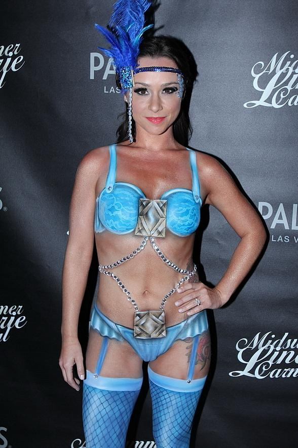 """Scream Queen"" Danielle Harris Tantalizes Partygoers in Body-Painted Costume at Midsummer Lingerie Masquerade at Palms Pool"