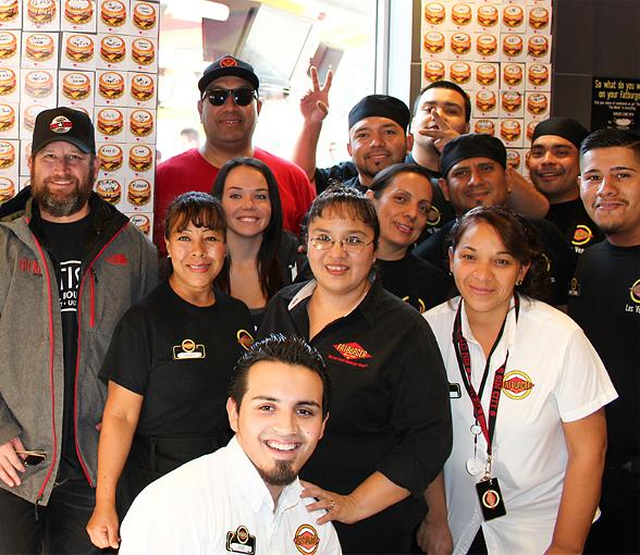 Darin Feinstein, Fat Bar Creator, on left with Fat Bar and FatBurger Staff to support Shade Tree $1 Donation Holiday Give Back Drive