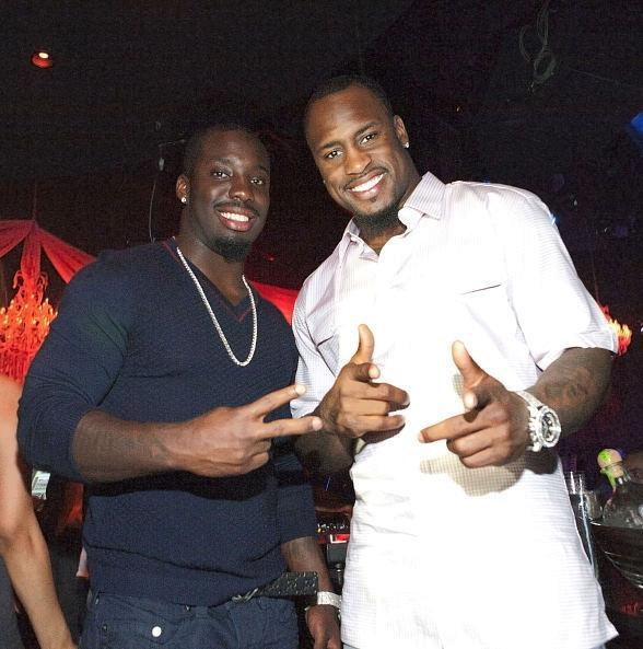 Vontae (L) and Vernon Davis inside Eve Nightclub at Crystals CityCenter