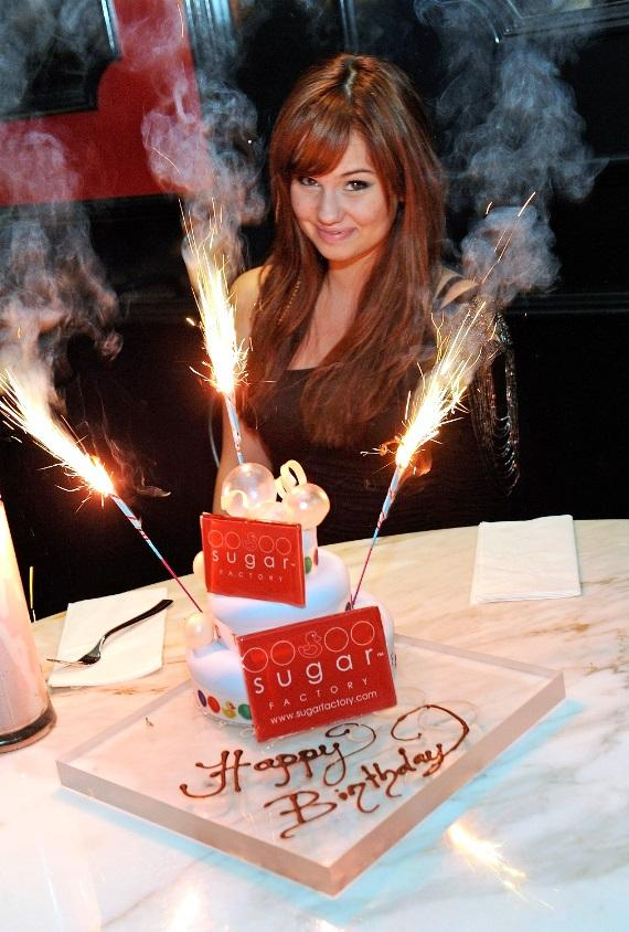 Debby Ryan with her sparkler-adorned birthday cake at Sugar Factory American Brasserie