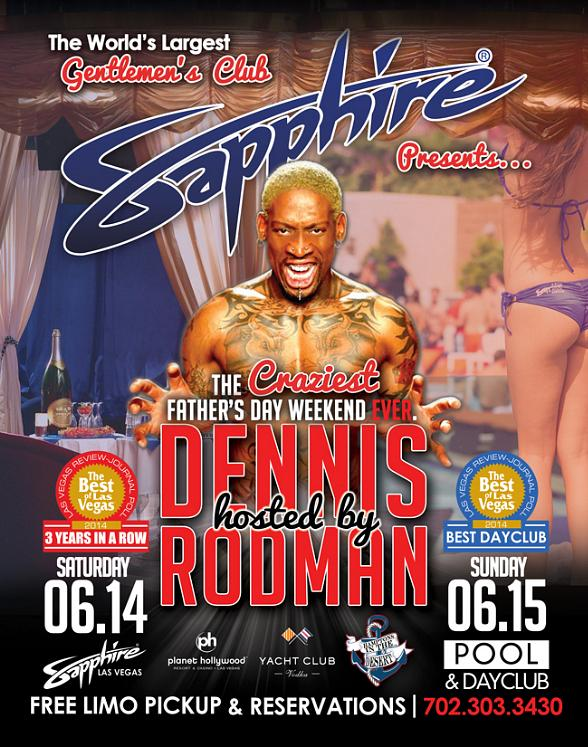 Meet Basketball Legend Dennis Rodman at Sapphire Las Vegas, June 14 and Sapphire Day Club, June 15