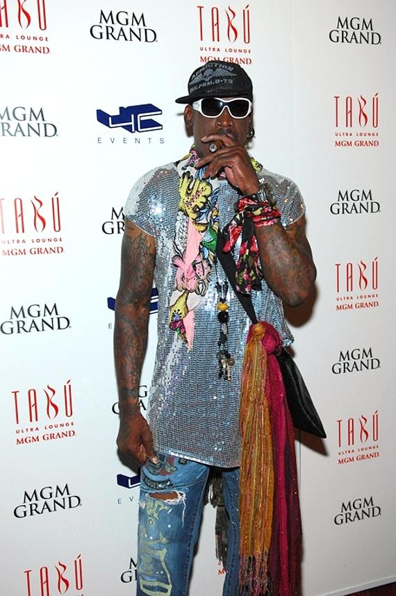 Dennis Rodman on red carpet at Tabú Ultra Lounge at MGM Grand